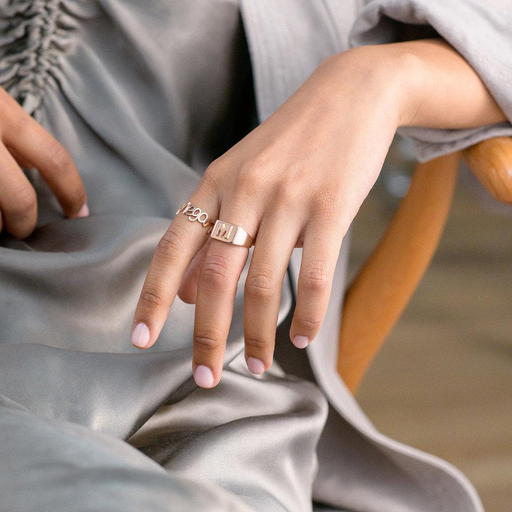 Ayla Square Initial Signet Ring - Rose Gold Plating - 4