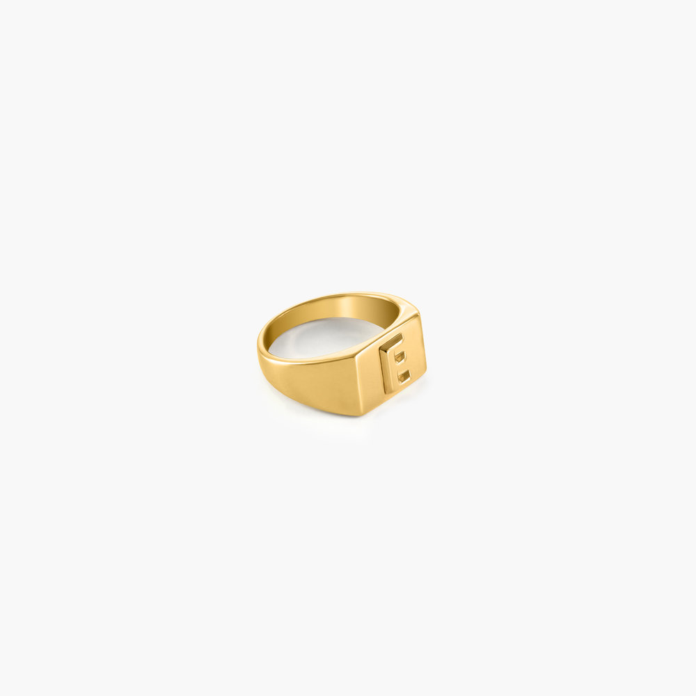 Ayla Square Initial Signet Ring - Gold Vermeil - 1