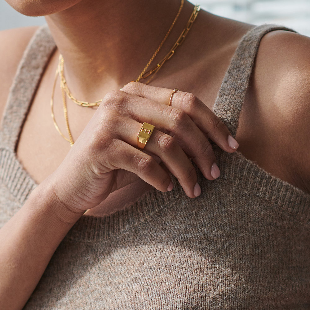 Ayla Square Initial Signet Ring - Gold Vermeil - 4