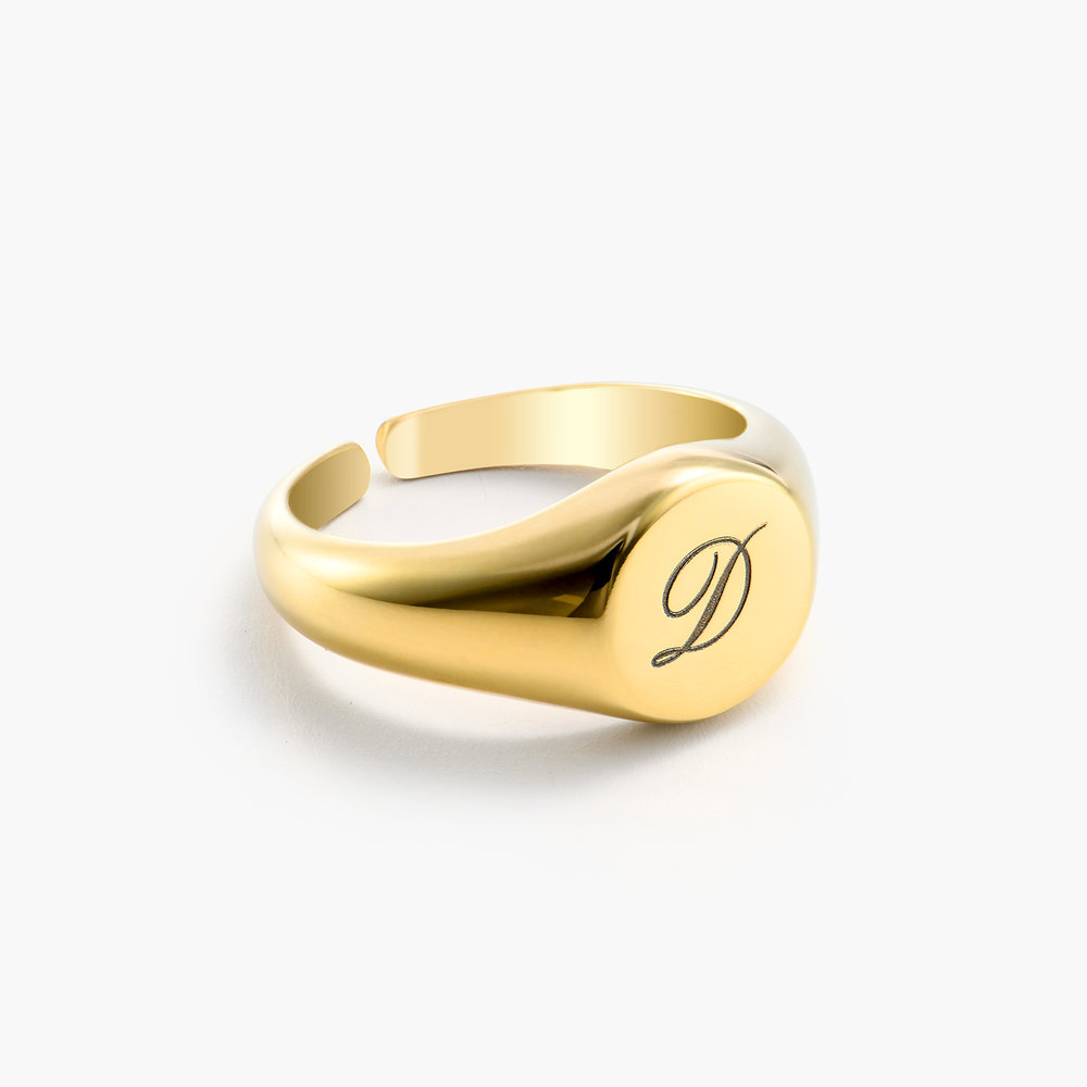 Personalized Initial Signet Ring - Gold Plating - 1