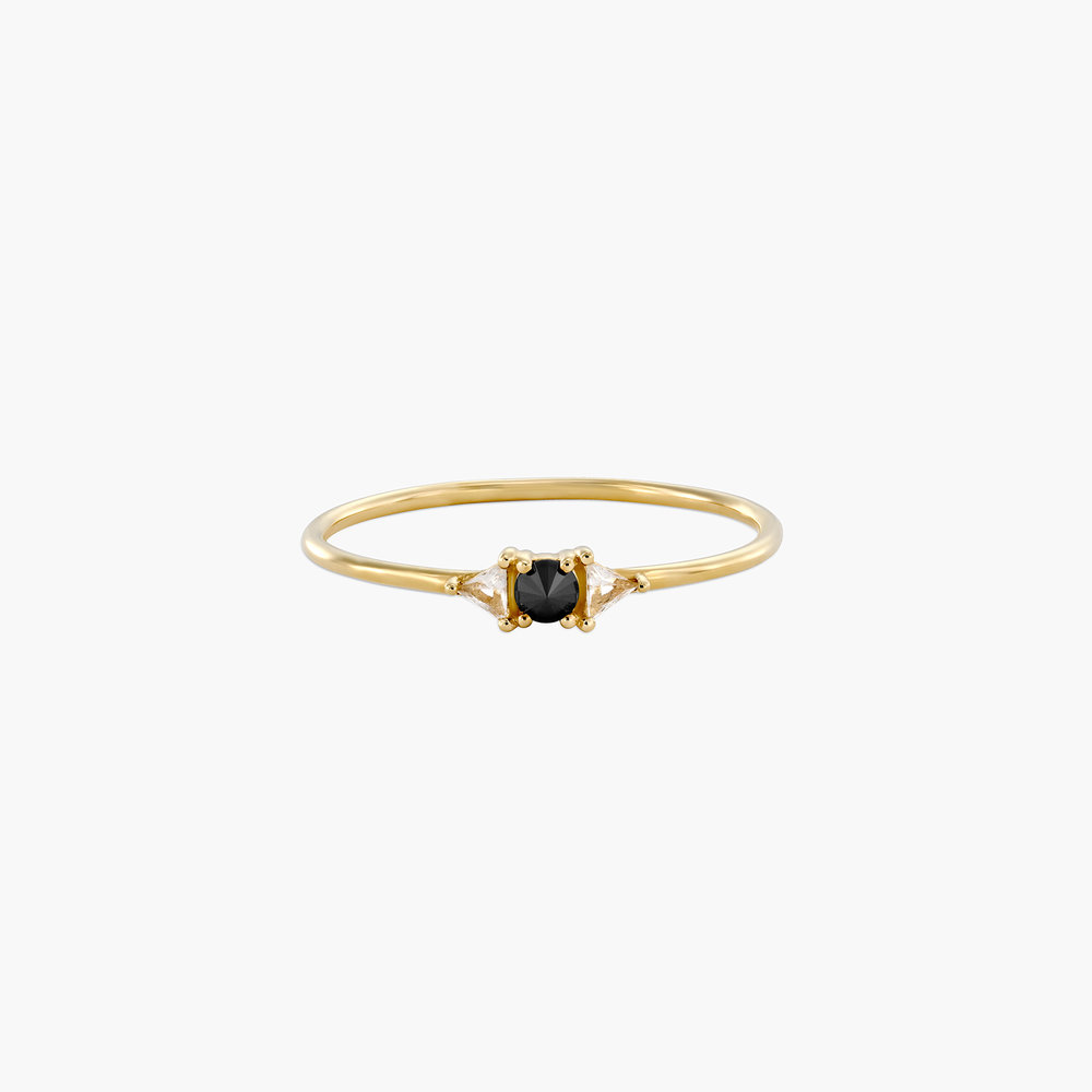 Sloane Black Diamond and White Topaz Ring - 14K Solid Gold