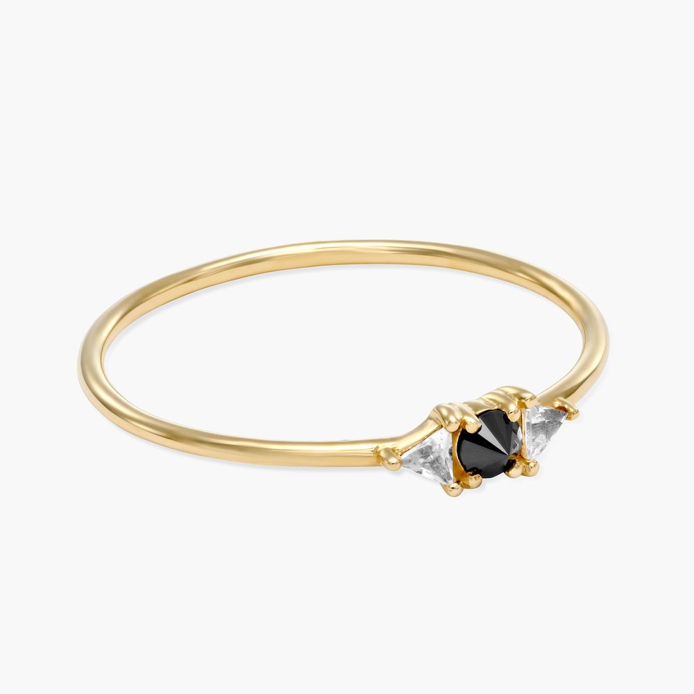 Sloane Black Diamond and White Topaz Ring - 14K Solid Gold - 1