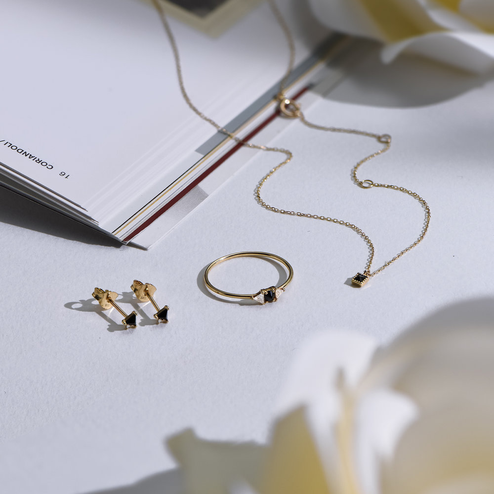 Sloane Black Diamond and White Topaz Ring - 14K Solid Gold - 2
