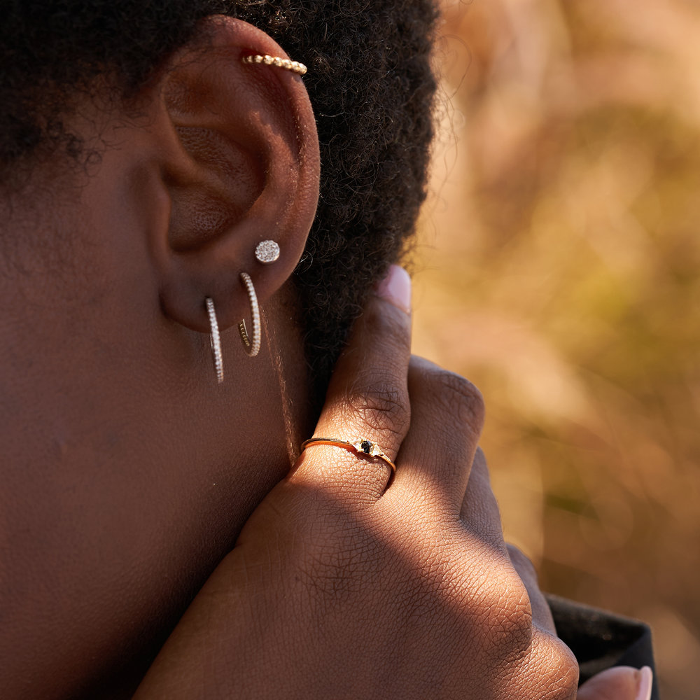 Sloane Black Diamond and White Topaz Ring - 14K Solid Gold - 3