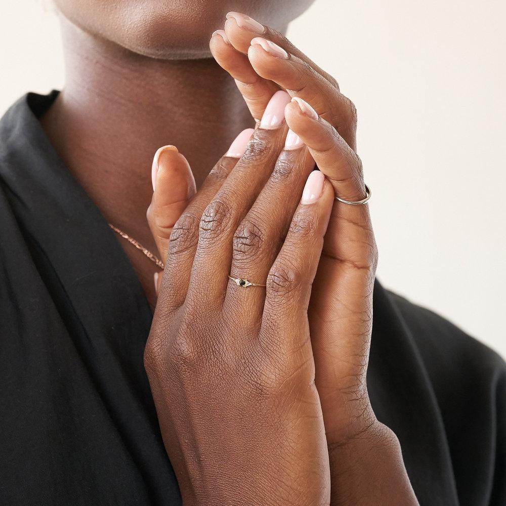 Sloane Black Diamond and White Topaz Ring - 14K Solid Gold - 4