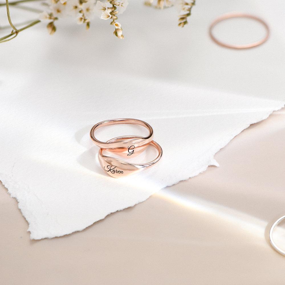 Kara Custom Name Ring - Rose Gold Plated - 2