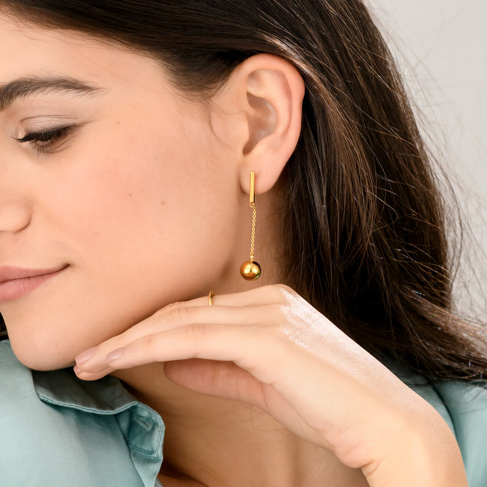 Orb Drop Earrings - Gold Plated - 2