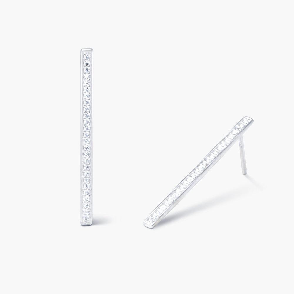 Sparkle Bar Earrings - Silver - 1