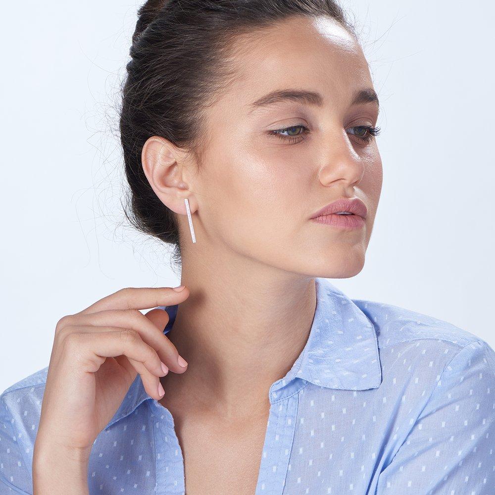 Sparkle Bar Earrings - Silver - 3