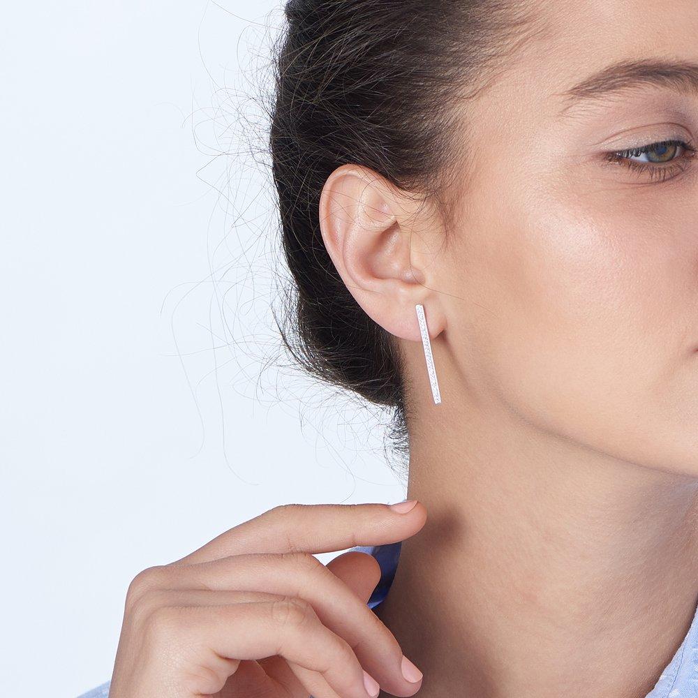 Sparkle Bar Earrings - Silver - 4