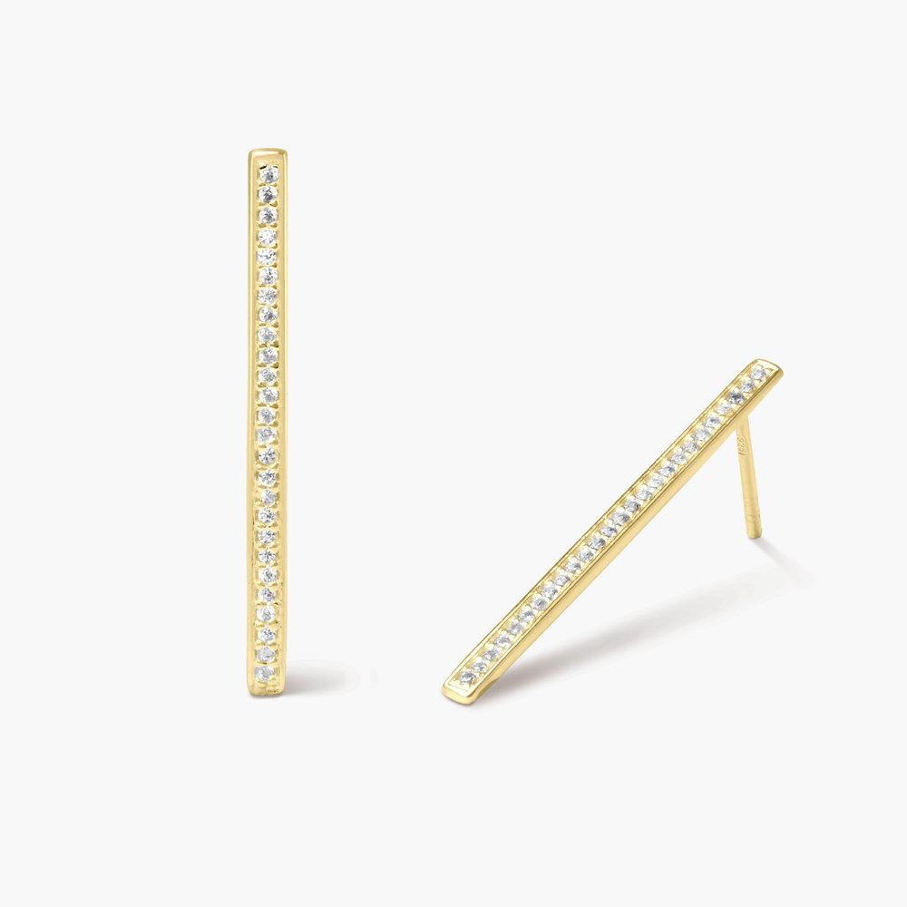 Sparkle Bar Stud Earrings - Gold Plated - 1