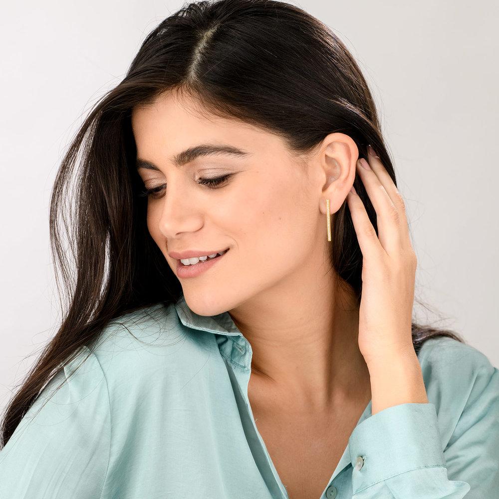 Sparkle Bar Stud Earrings - Gold Plated - 2