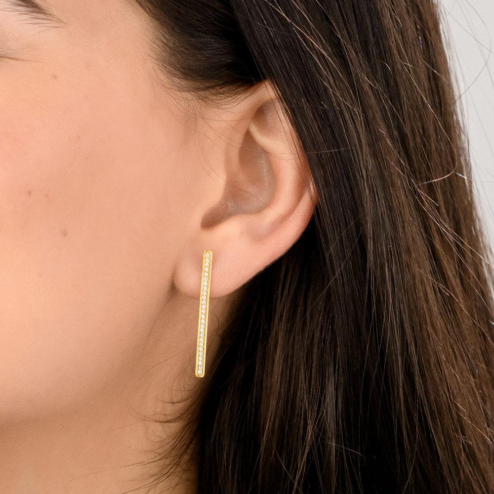 Sparkle Bar Stud Earrings - Gold Plated - 3
