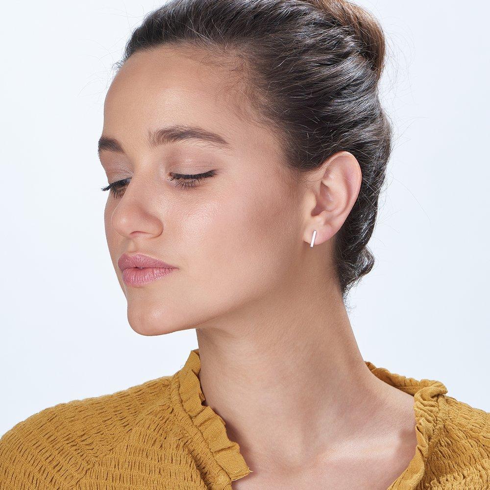 Bar Earrings - Silver - 3