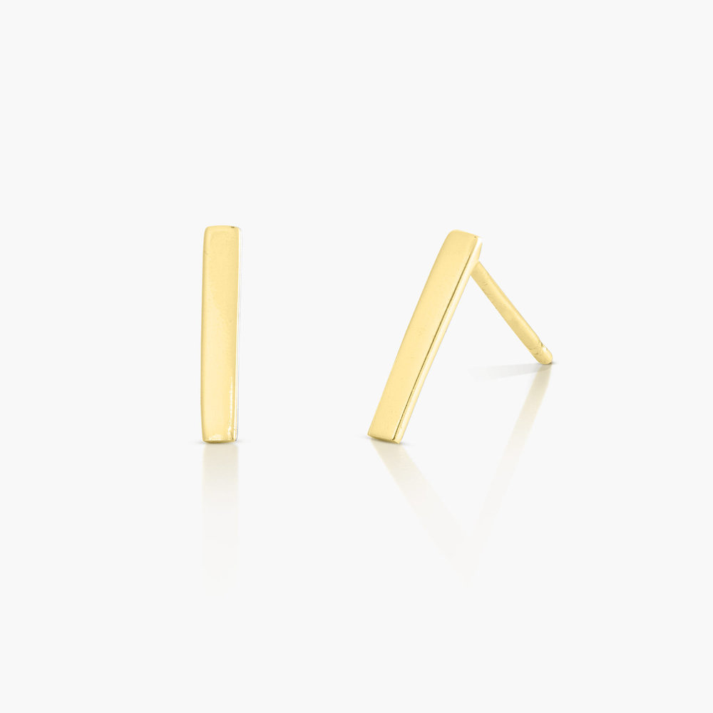 Bar Stud Earrings - Gold Plated