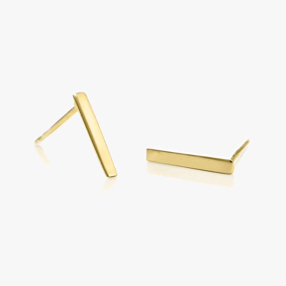 Bar Stud Earrings - Gold Plated - 1
