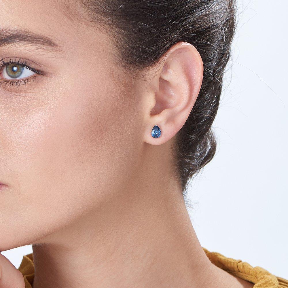 Glimmer Teardrop Earrings - Denim - 2
