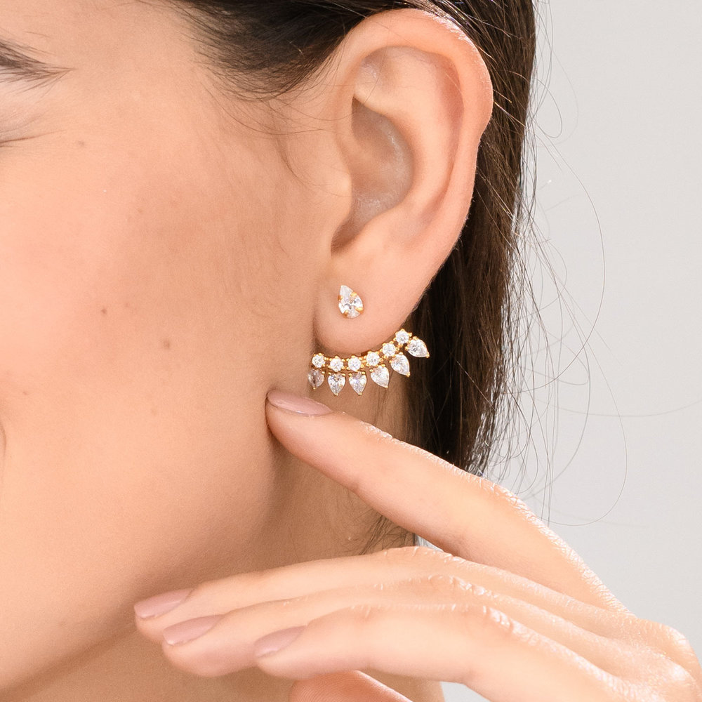 Gleam Ear Jacket Earrings - Gold Plated - 2