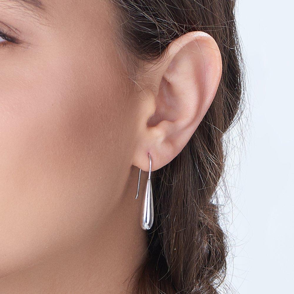 Teardrop Dangle Earrings - Silver - 2