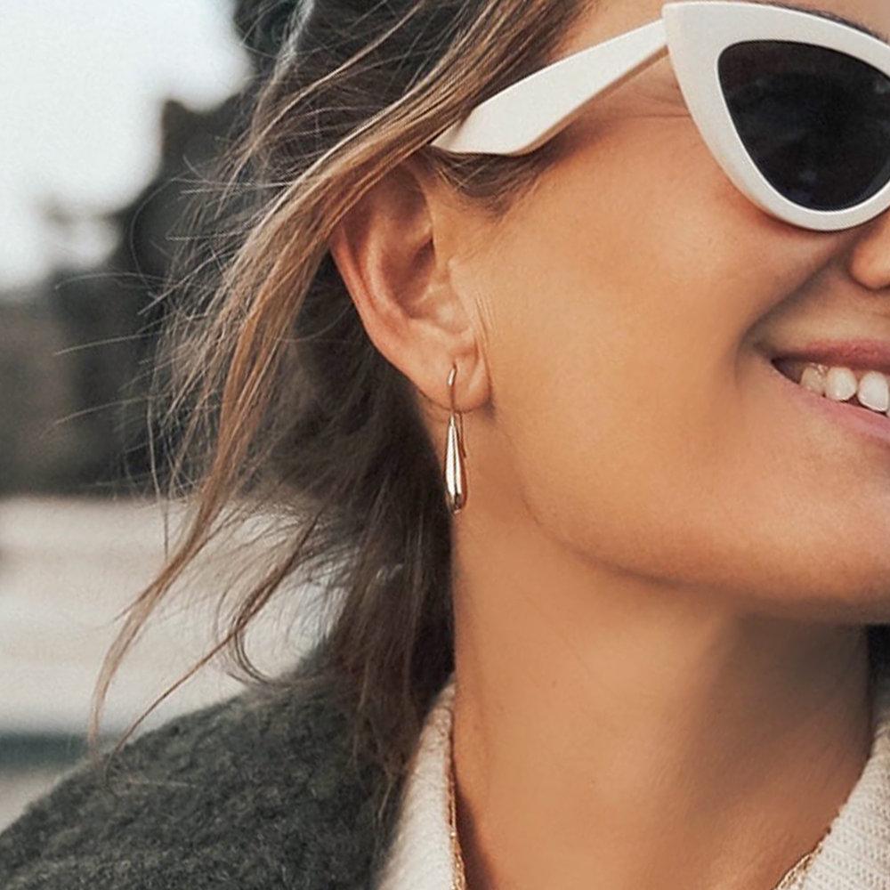 Teardrop Dangle Earrings - Gold Plated - 2