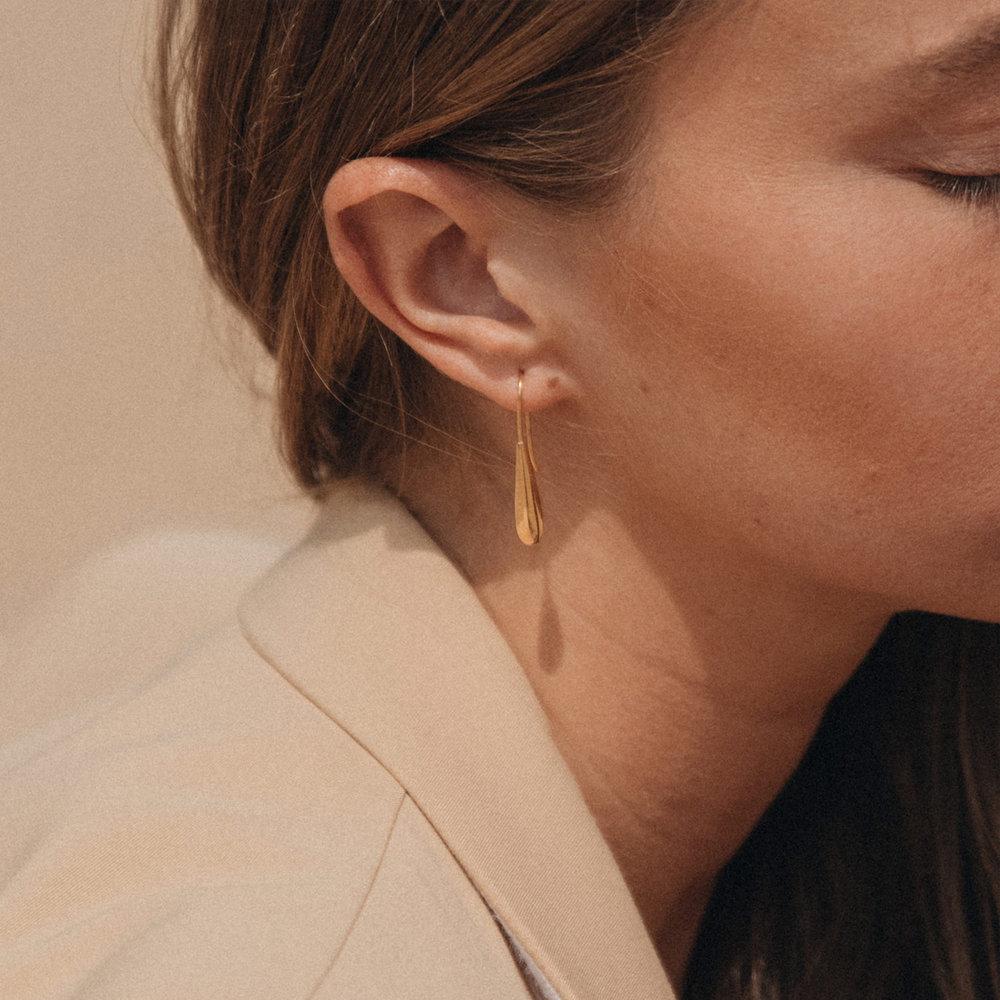 Teardrop Dangle Earrings - Gold Plated - 3