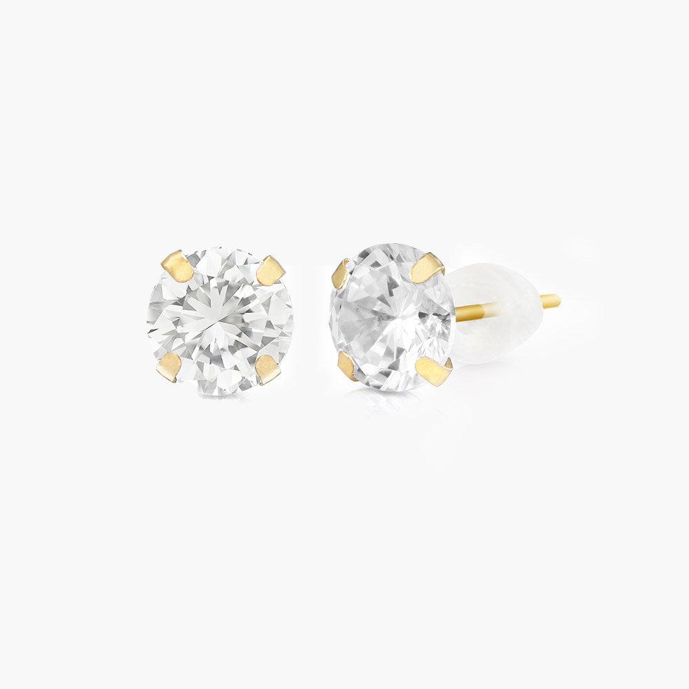 Sparkle Gold Stud Earrings - 10K Gold