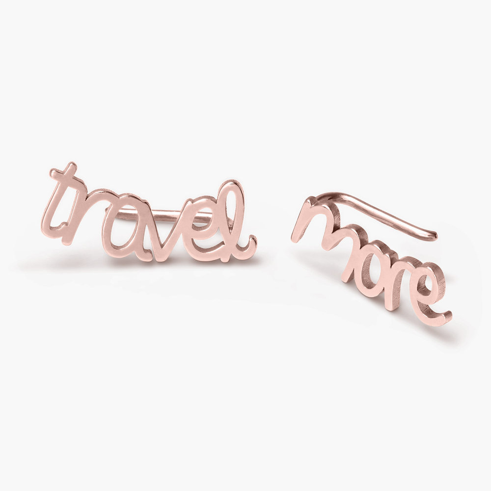 Pixie Name Earrings - Rose Gold Plated