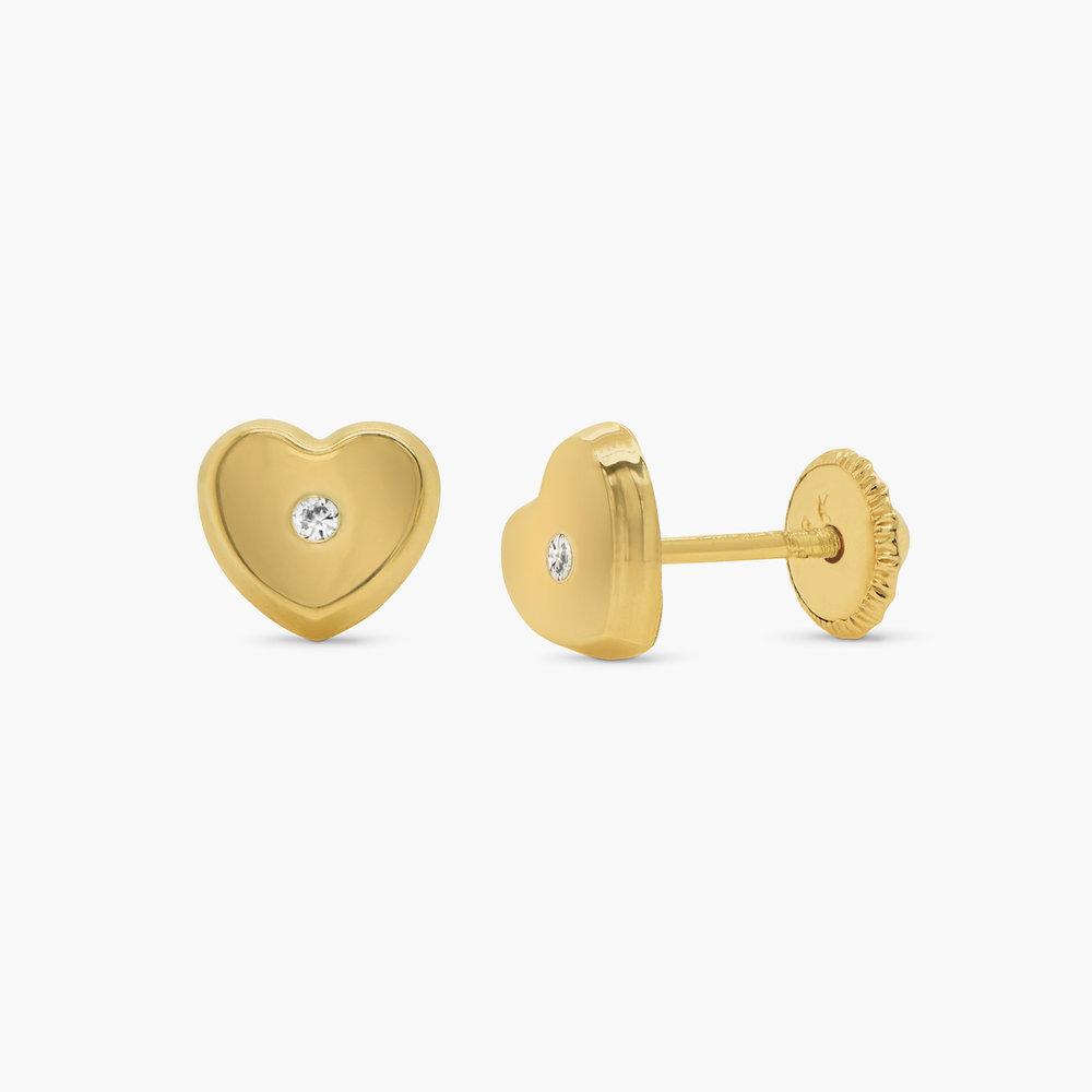 Heart Gold Stud Earrings - 10K Gold
