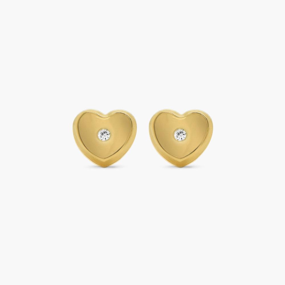 Heart Gold Stud Earrings - 10K Gold - 1