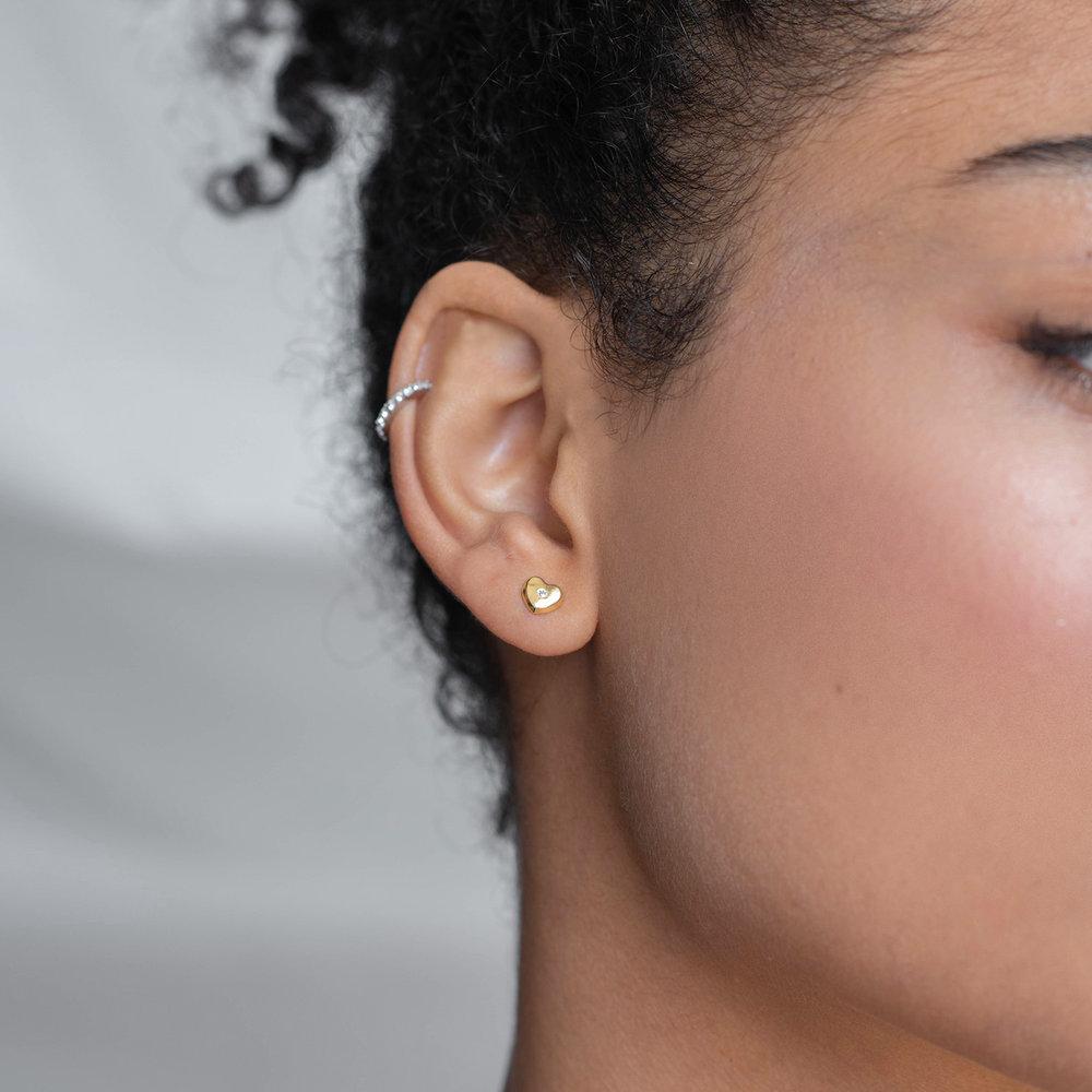 Heart Gold Stud Earrings - 10K Gold - 2