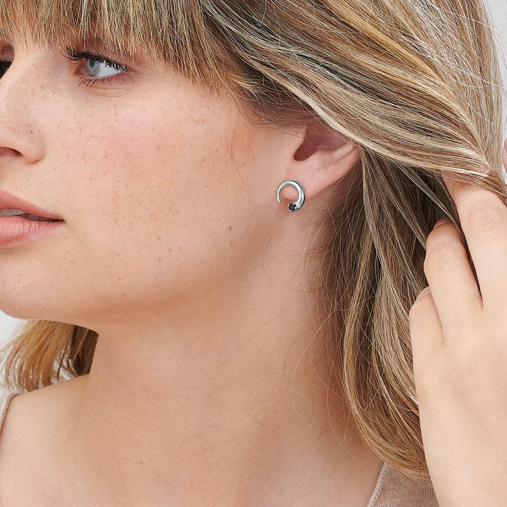Moonlight Crescent Earrings - Sterling Silver - 3