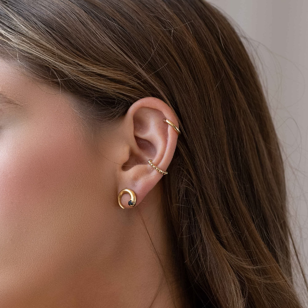 Moonlight Crescent Earrings - Gold Plated - 3