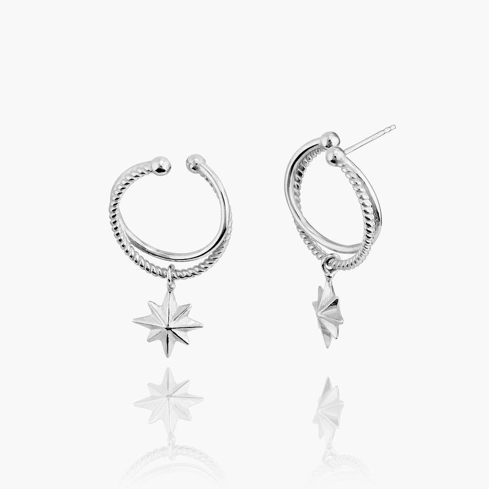 North Star Hoop Earrings - Sterling Silver