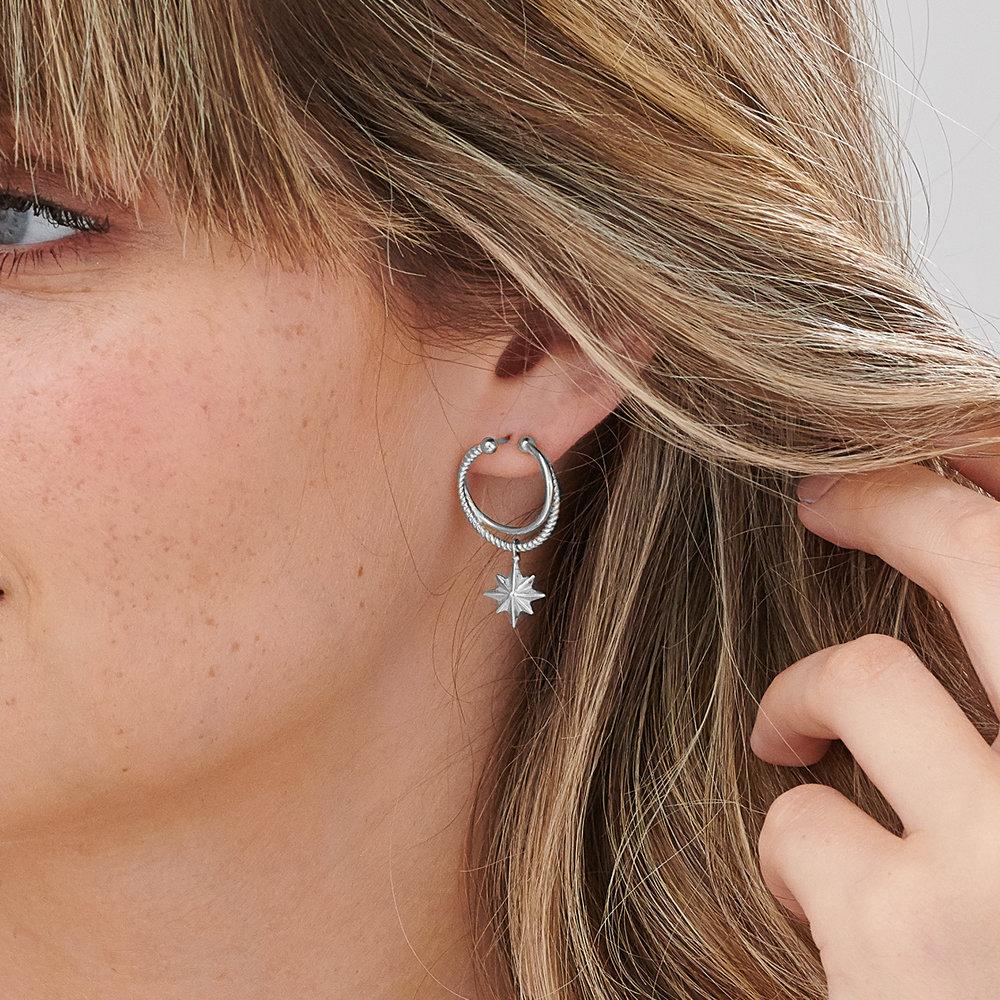 North Star Hoop Earrings - Sterling Silver - 3
