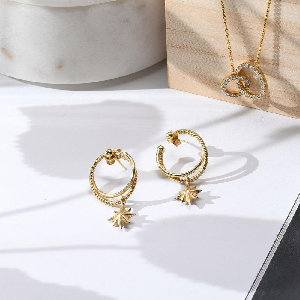 North Star Hoop Earrings - Gold Plated - 2