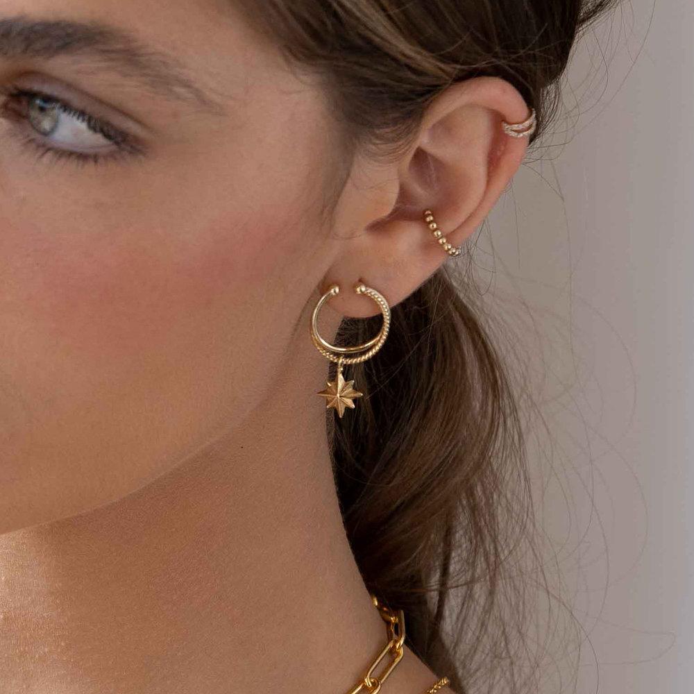North Star Hoop Earrings - Gold Plated - 3