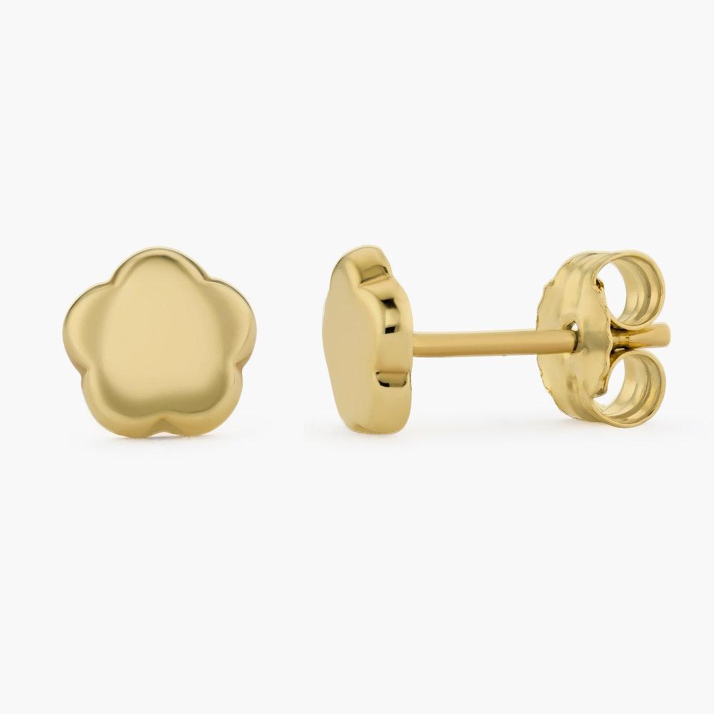 Gold Flower Earrings Studs - 10K Gold