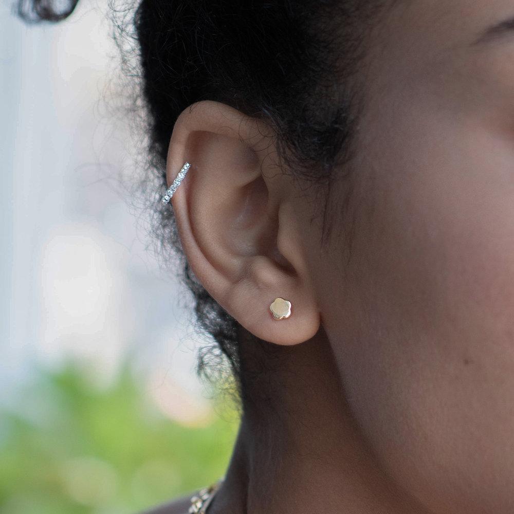 Gold Flower Earrings Studs - 10K Gold - 3