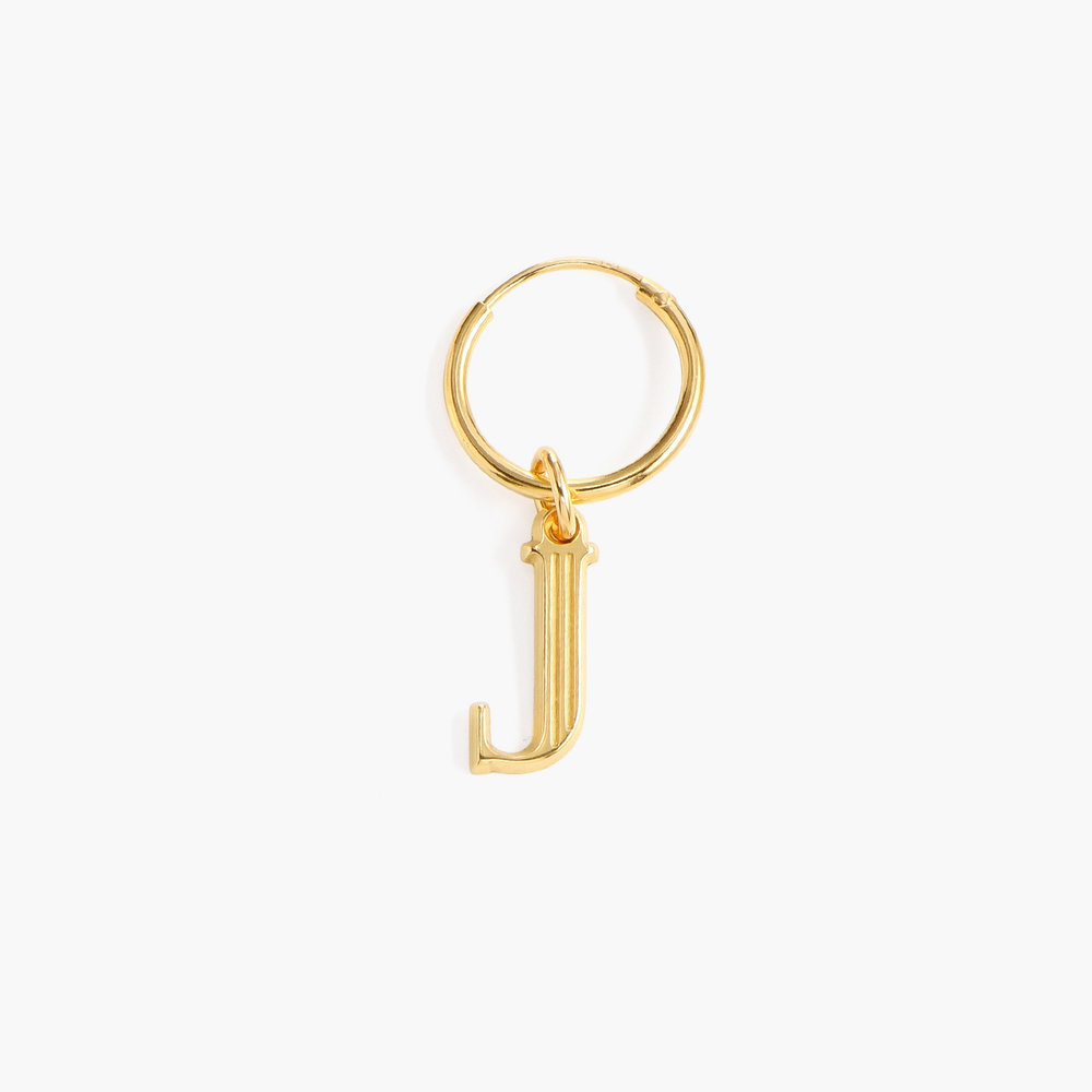Initial Hoop Earrings With Baroque Pearl - Gold Plated - 1