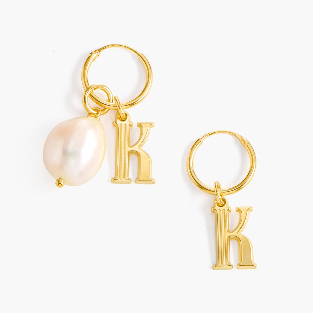 Initial Hoop Earrings With Baroque Pearl - Gold Vermeil