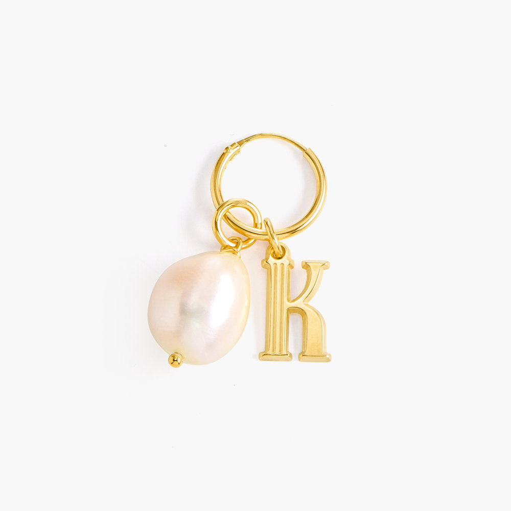 Initial Hoop Earrings With Baroque Pearl - Gold Vermeil - 1