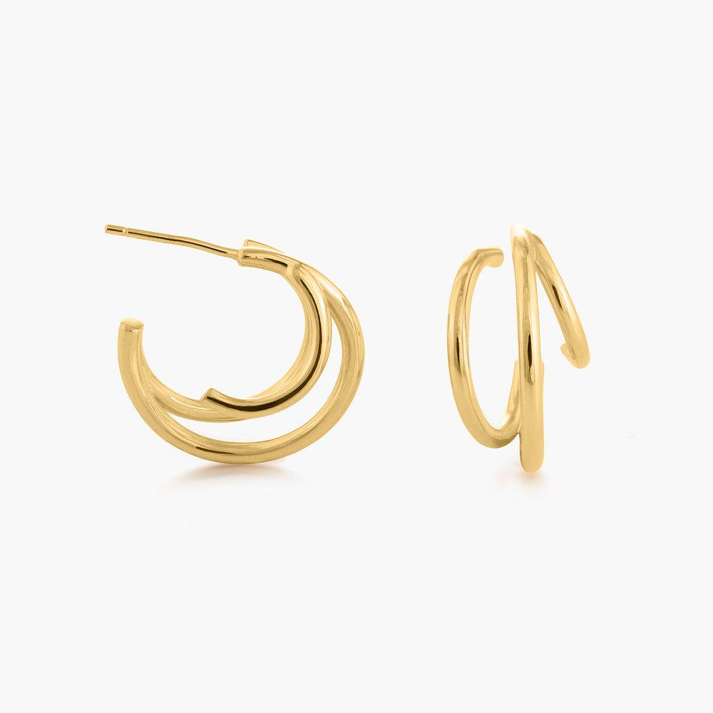 Tango Triple Hoop Earrings - Gold Plated