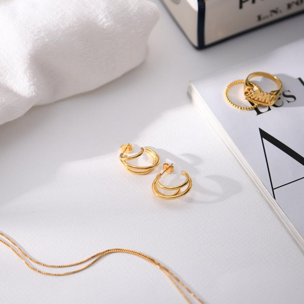 Tango Triple Hoop Earrings - Gold Plated - 1