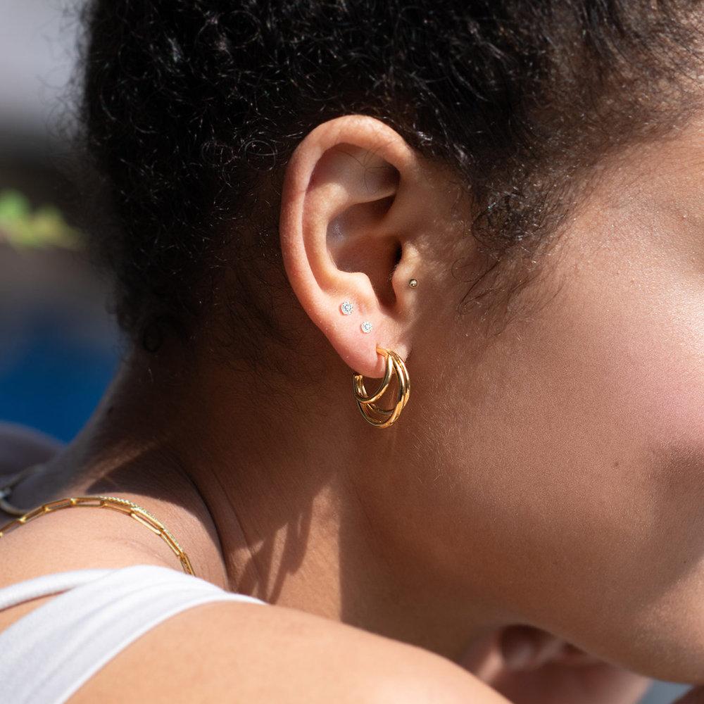Tango Triple Hoop Earrings - Gold Plated - 3