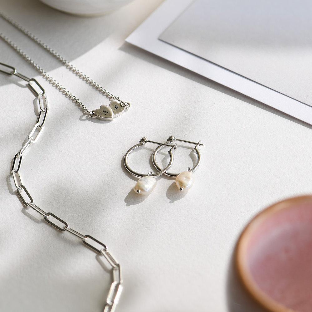 Pearls Just Wanna Have Fun Hoop Earrings - Sterling Silver - 2