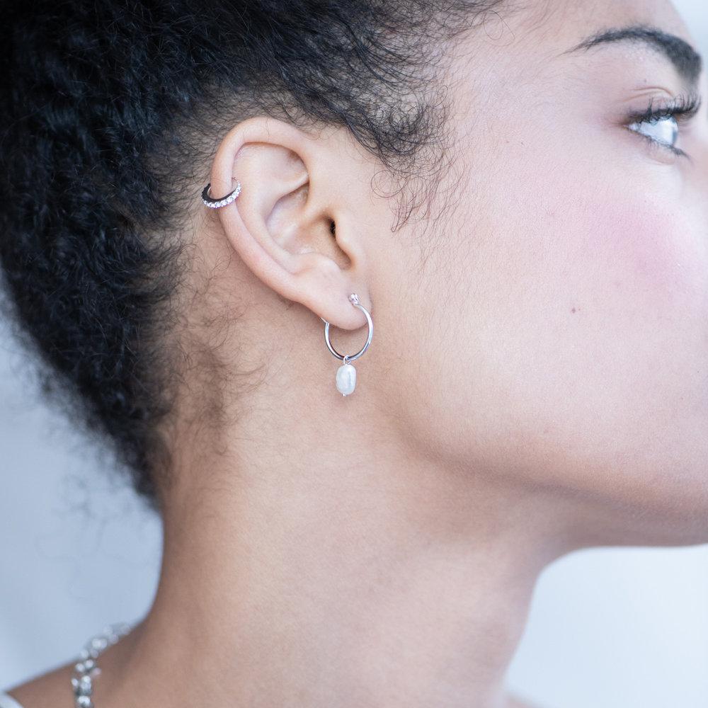 Pearls Just Wanna Have Fun Hoop Earrings - Sterling Silver - 3