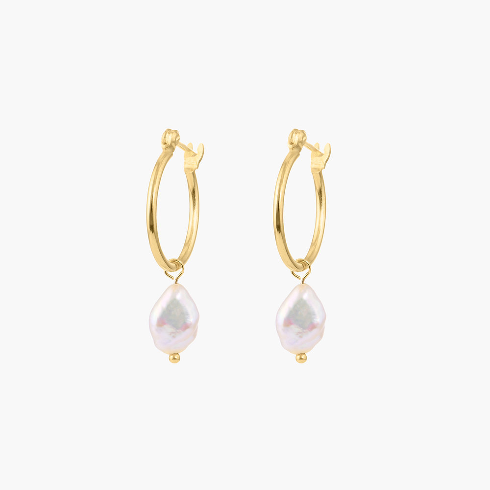 Pearls Just Wanna Have Fun Hoop Earrings - Gold Plated