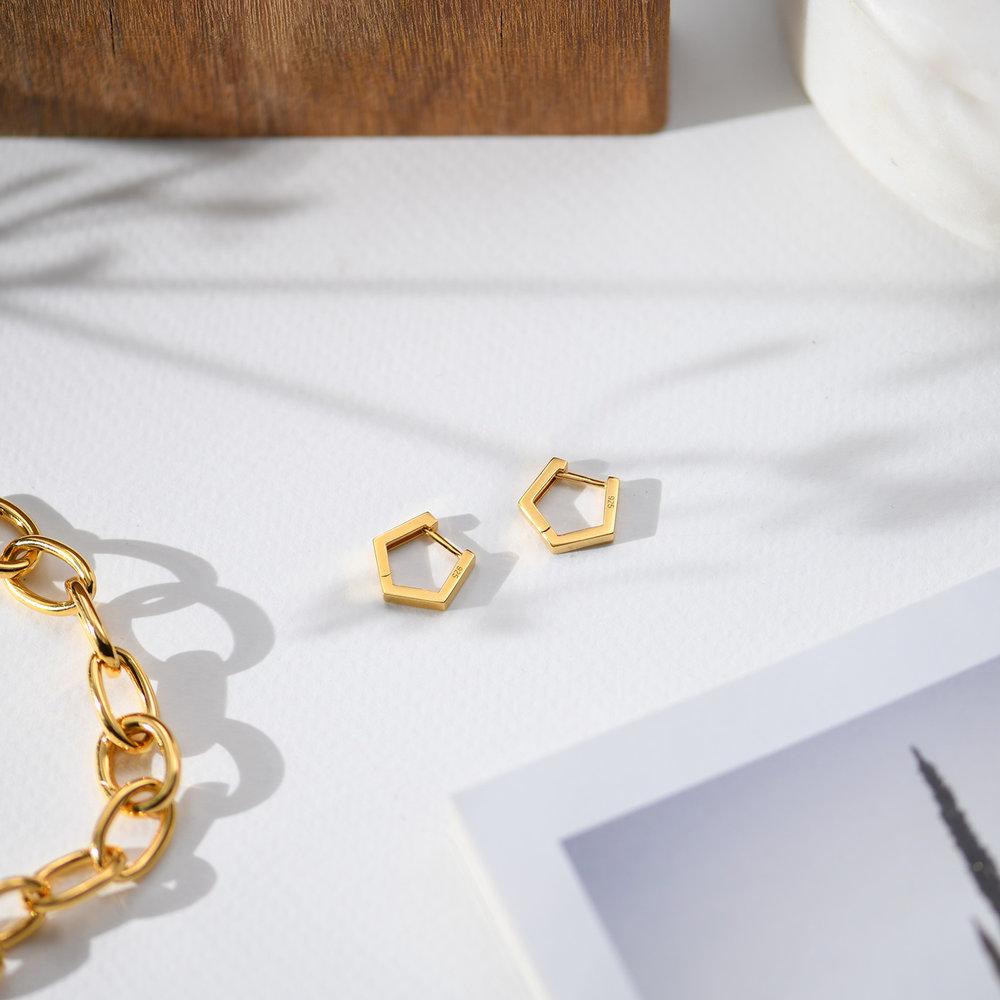 Strike Gold Hoop Earrings - Gold Plated - 1