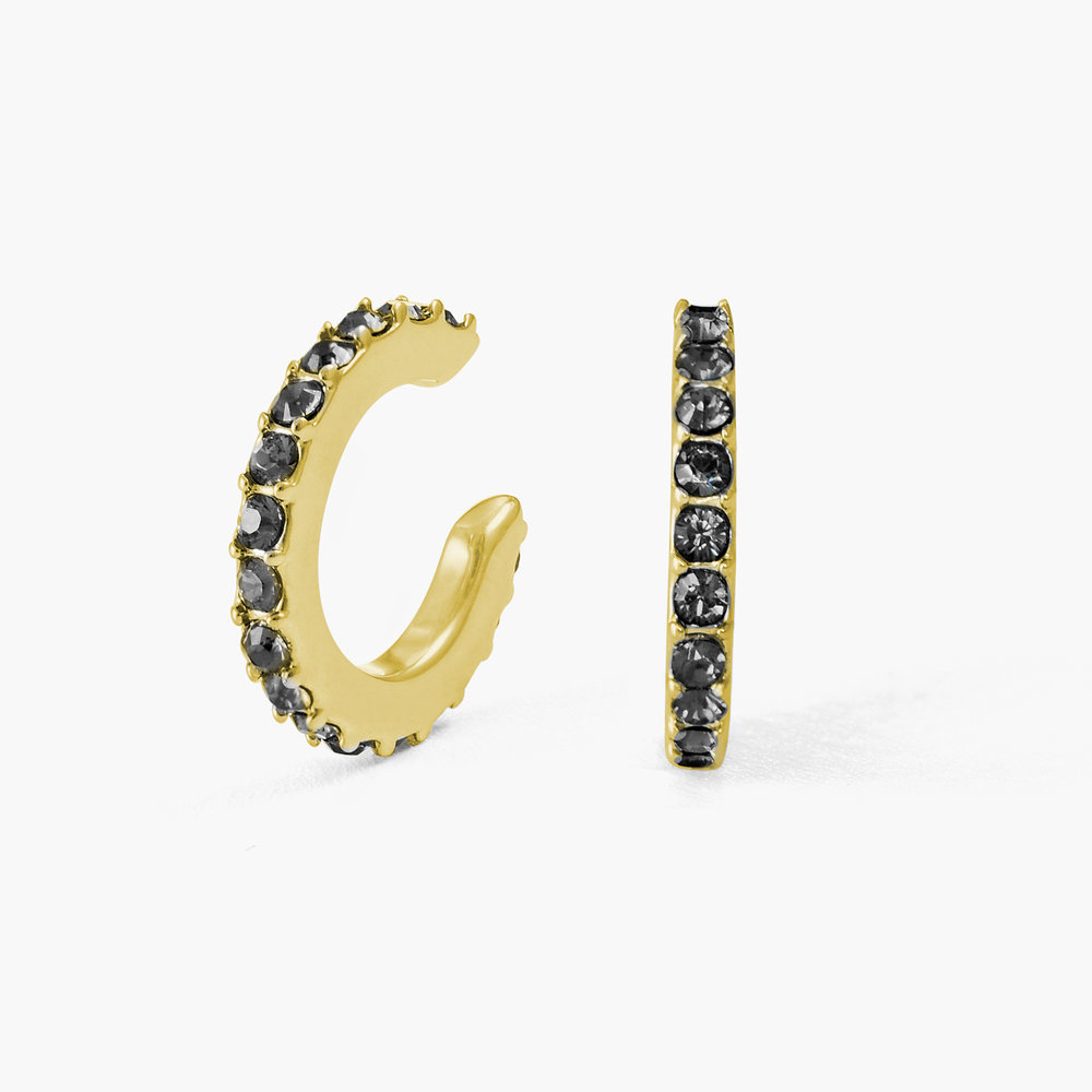 Candy Shop Cuff Earrings with Black Stones - Gold Plated
