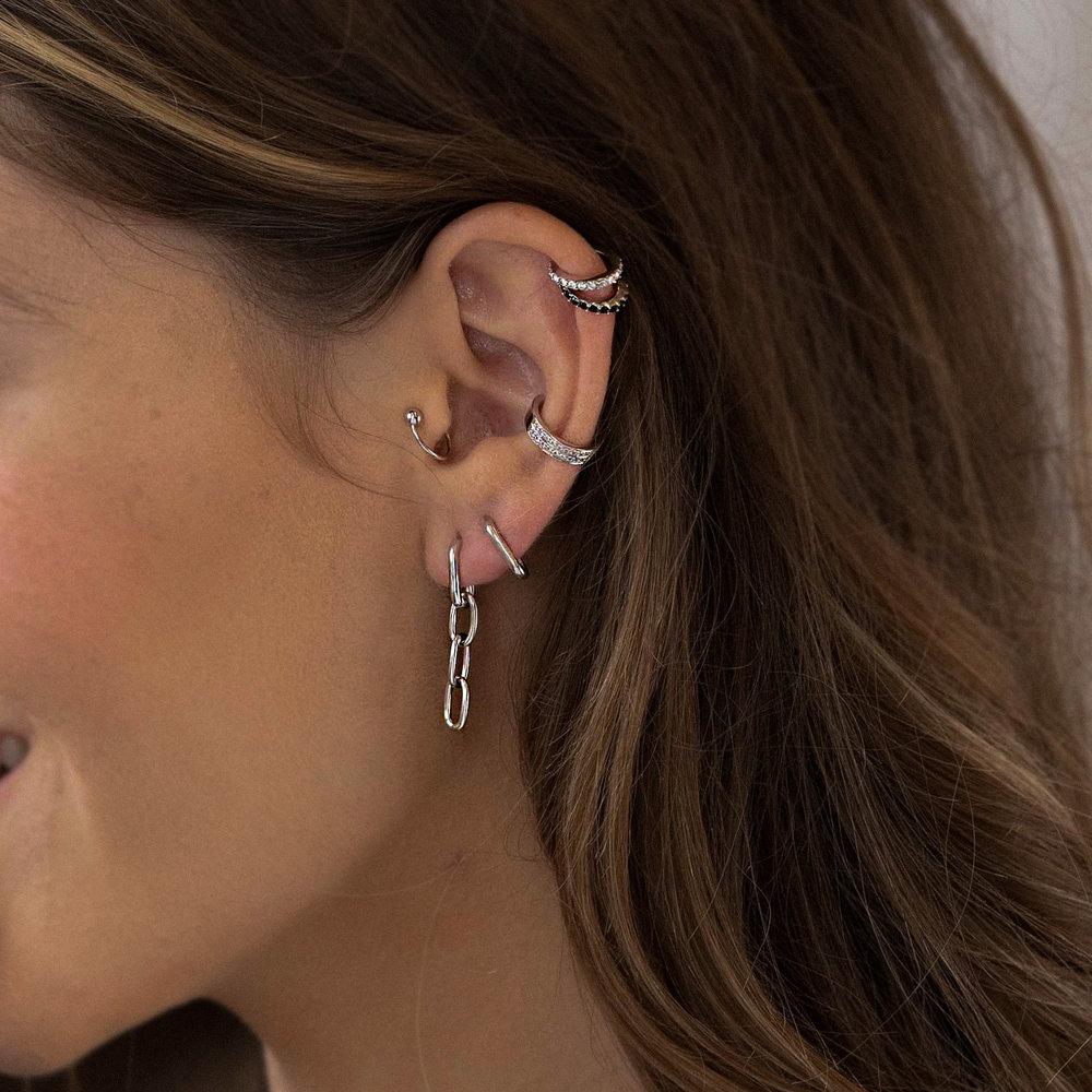 Cuban Link Chain Stud Earring - Sterling Silver - 1